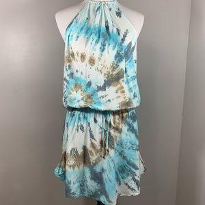 NWT LOVESTITCH Tie Dye Halter Mini Dress